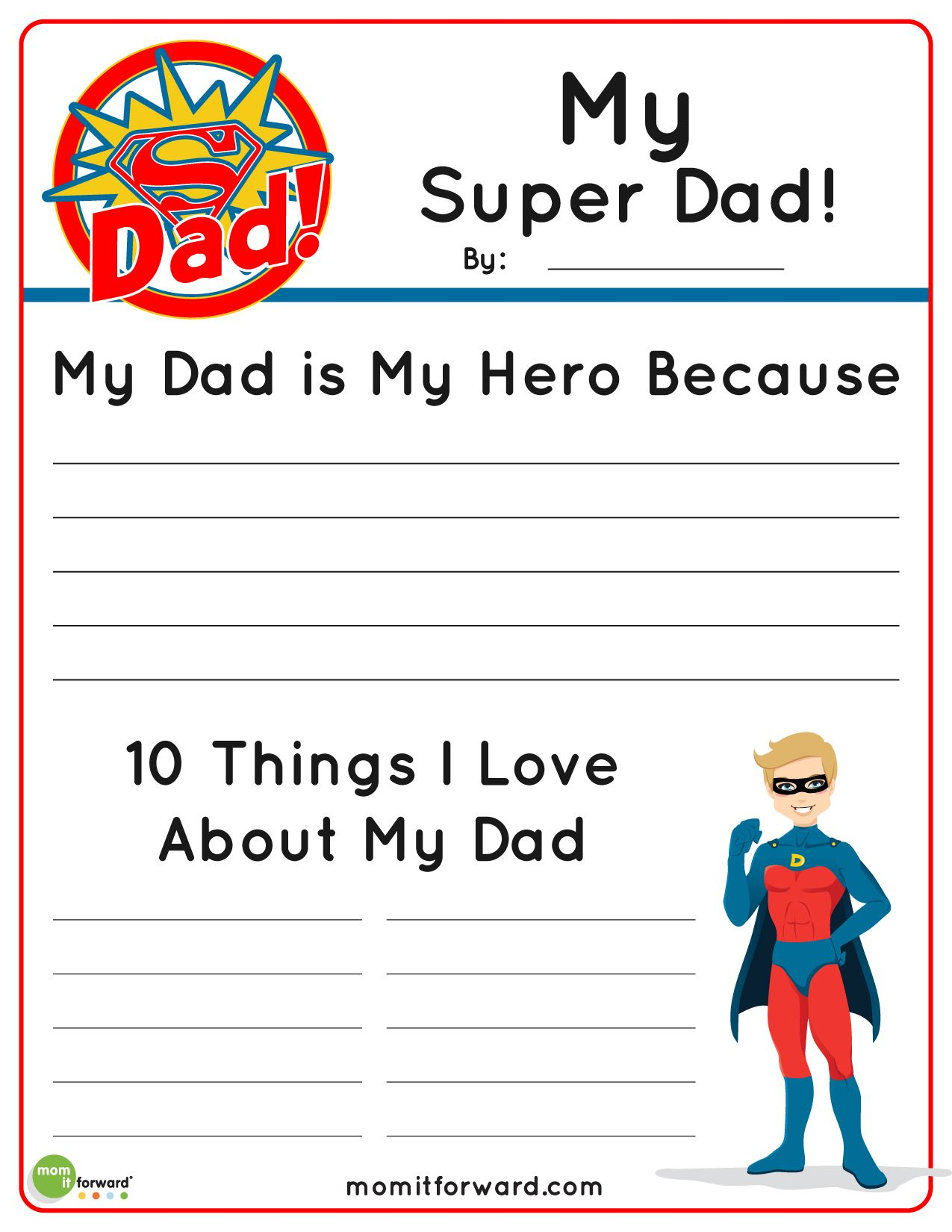 My Super Dad Father S Day Printable