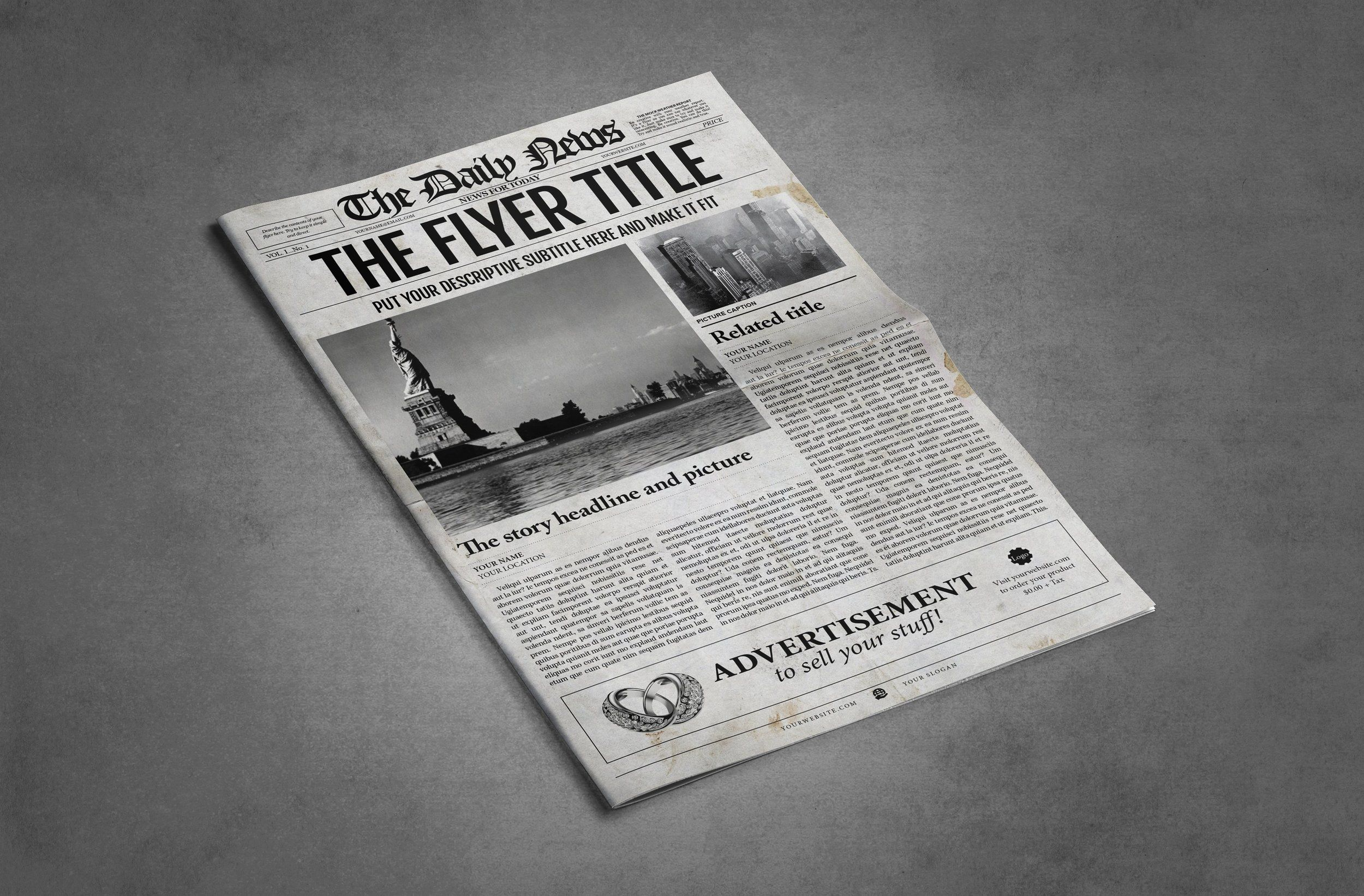 2x1 Page Newspaper Template Adobe Indesign 85x11 11x17 Inch