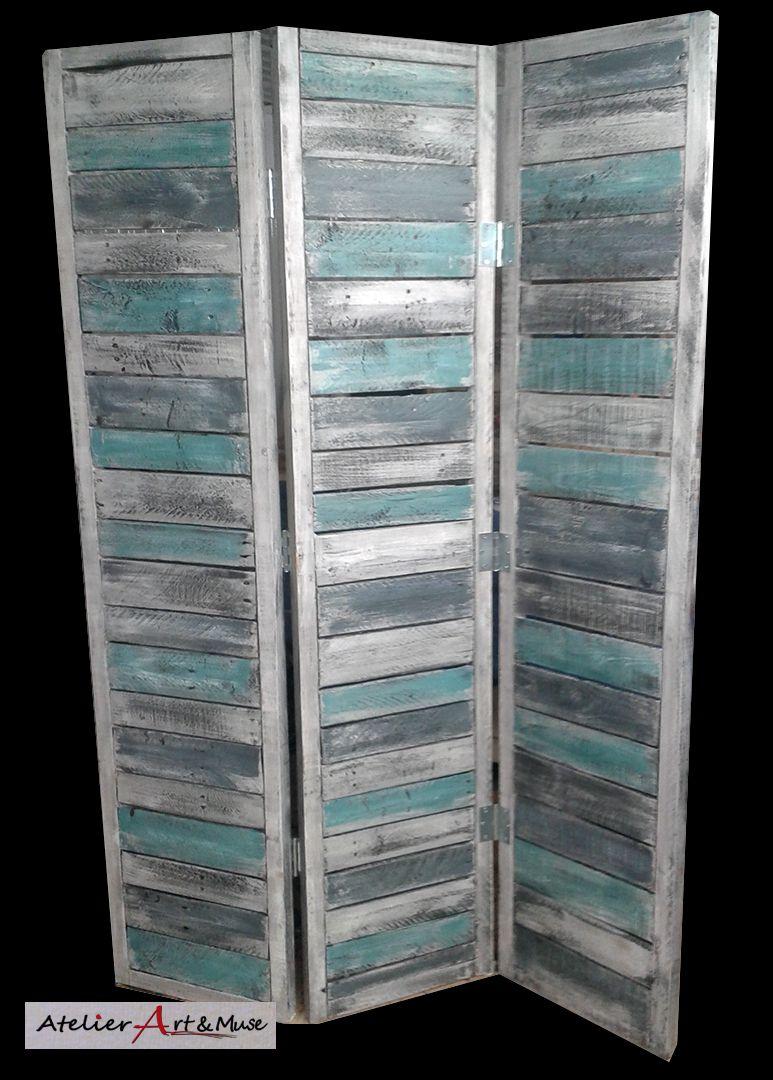 paravent en bois de palette et peinture recycl s biombos pinterest. Black Bedroom Furniture Sets. Home Design Ideas