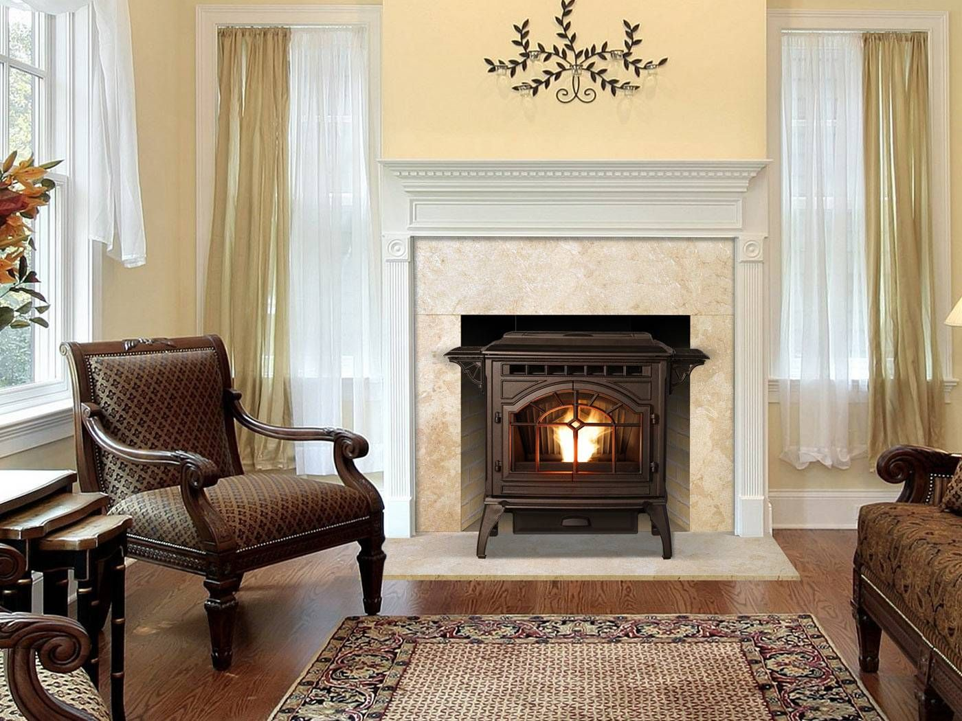Which Is Better : Wood Stove vs Pellet Stove : Traditional Pellet Stoves  For Your Fireplace - Great Way To Hide The Piping For A Wood Stove! Home Decorating