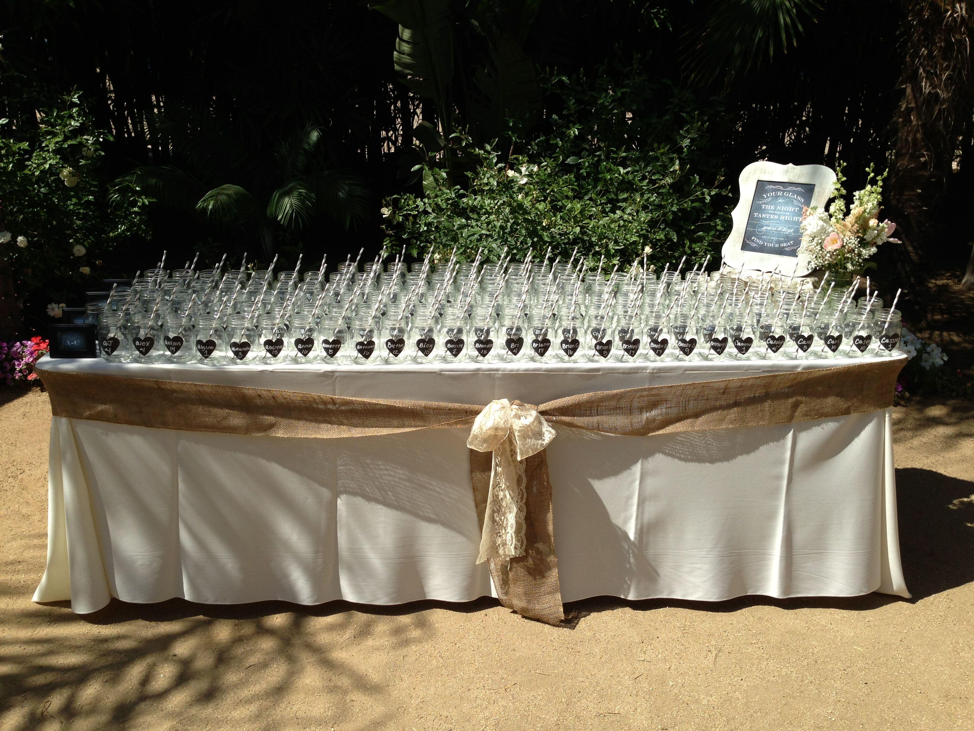 Rustic Wedding Seating Chart Ideas: Rustic Shabby Chic Wedding Seating Chart Mason Jars