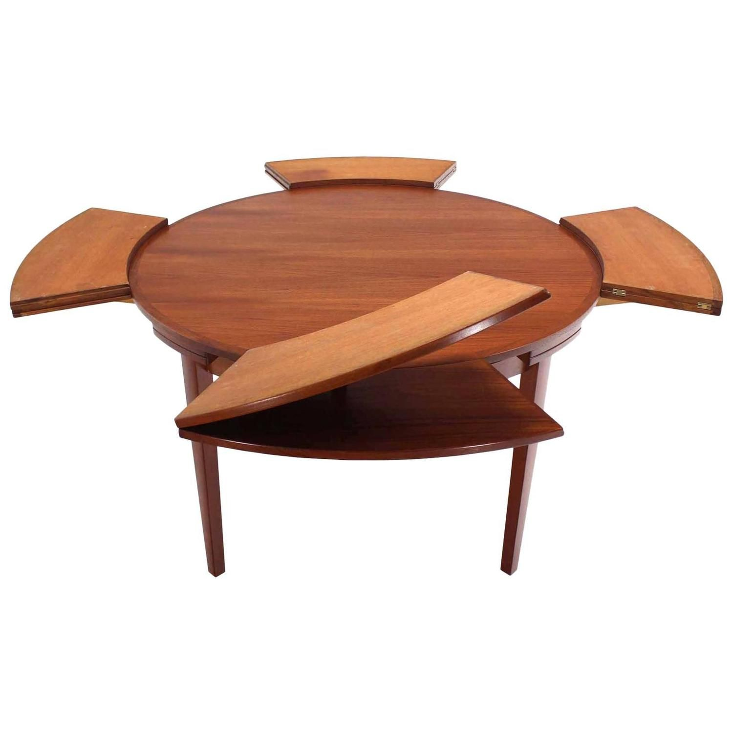 Rare Danish Modern Teak Round Expandable Top Dining Table Round Extendable Dining Table Expandable Dining Table Expandable Round Dining Table