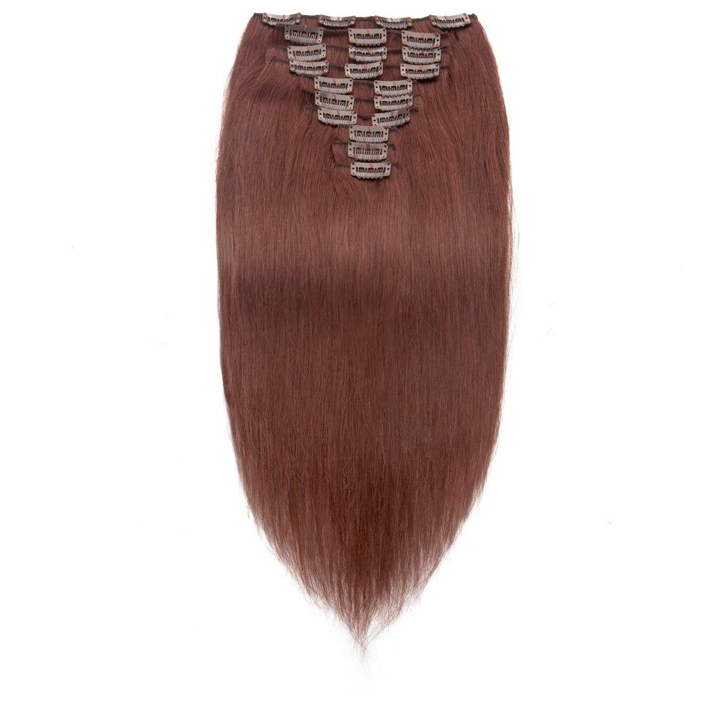 Pcs straight clip in remy hair extensions rich copper red