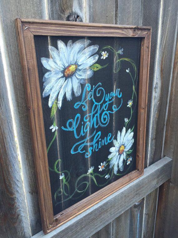 Let Your Light Shine Flowers On Screen Recycled Window Window Screen Crafts Window Crafts Window Art