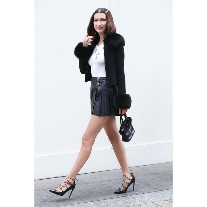 0b2d147e042b In Chrome Hearts X Bella Cardigan And Miniskirt And Saint Laurent Pumps -  In London
