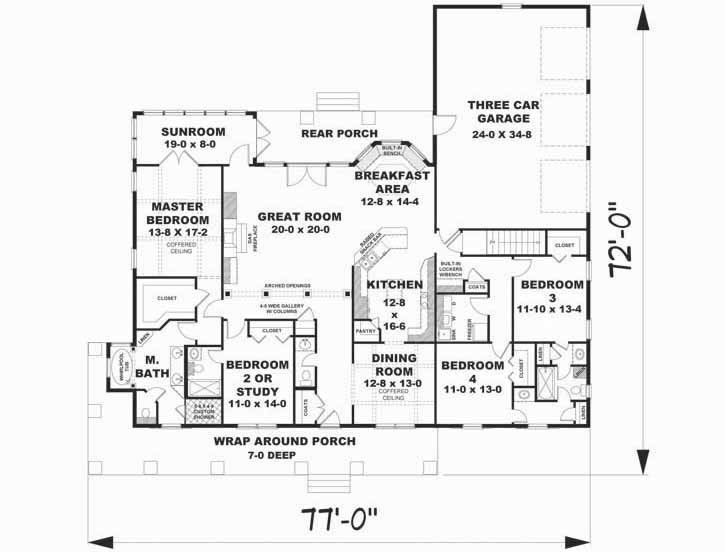 Country Style House Plans - 2818 Square Foot Home, 1 Story, 4