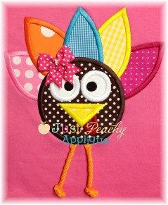 Whimsical Turkey with 3D Legs Applique Machine Embroidery Design Plus 1 Free Design NEW Instant Downloads