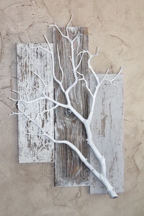 3 Pieces Wall Decor For Living Room: Three Piece Weathered BarnWood With White Coral Branch