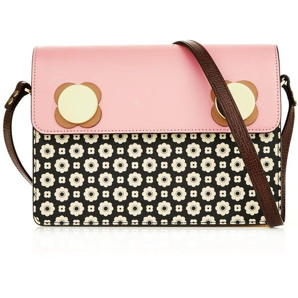 Orla Kiely Large Sweet Pea Cross Body Bag Black Pale Pink 1 455 Myr Liked On Polyvore Featuring Bags Handbags Shoulder Hand