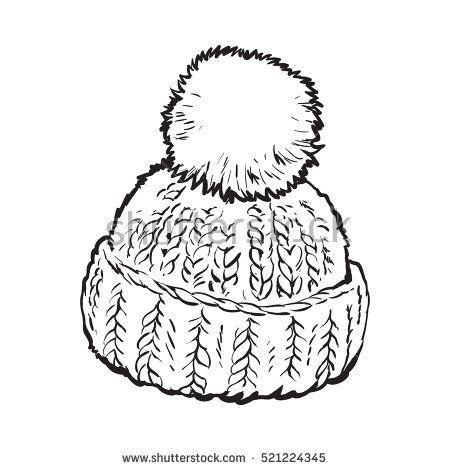 Bright winter knitted hat with pompon, sketch style vector