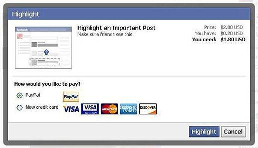 Facebook Tests Paid Status Updates