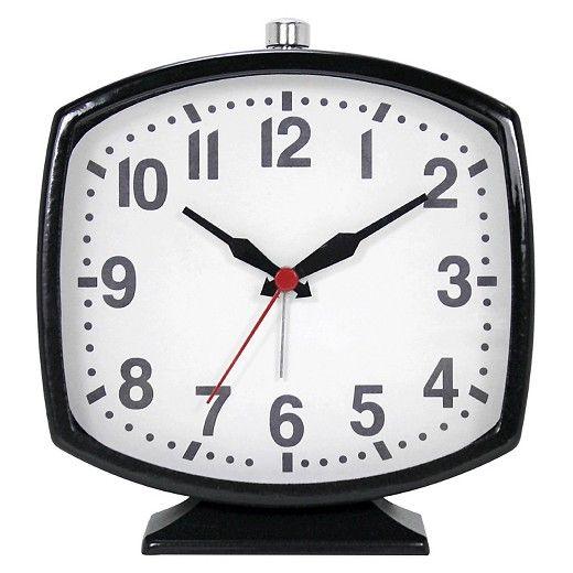 Ashton Sutton Metal Soft Rectangle Shaped Alarm Clock Glossy Black Case : Target