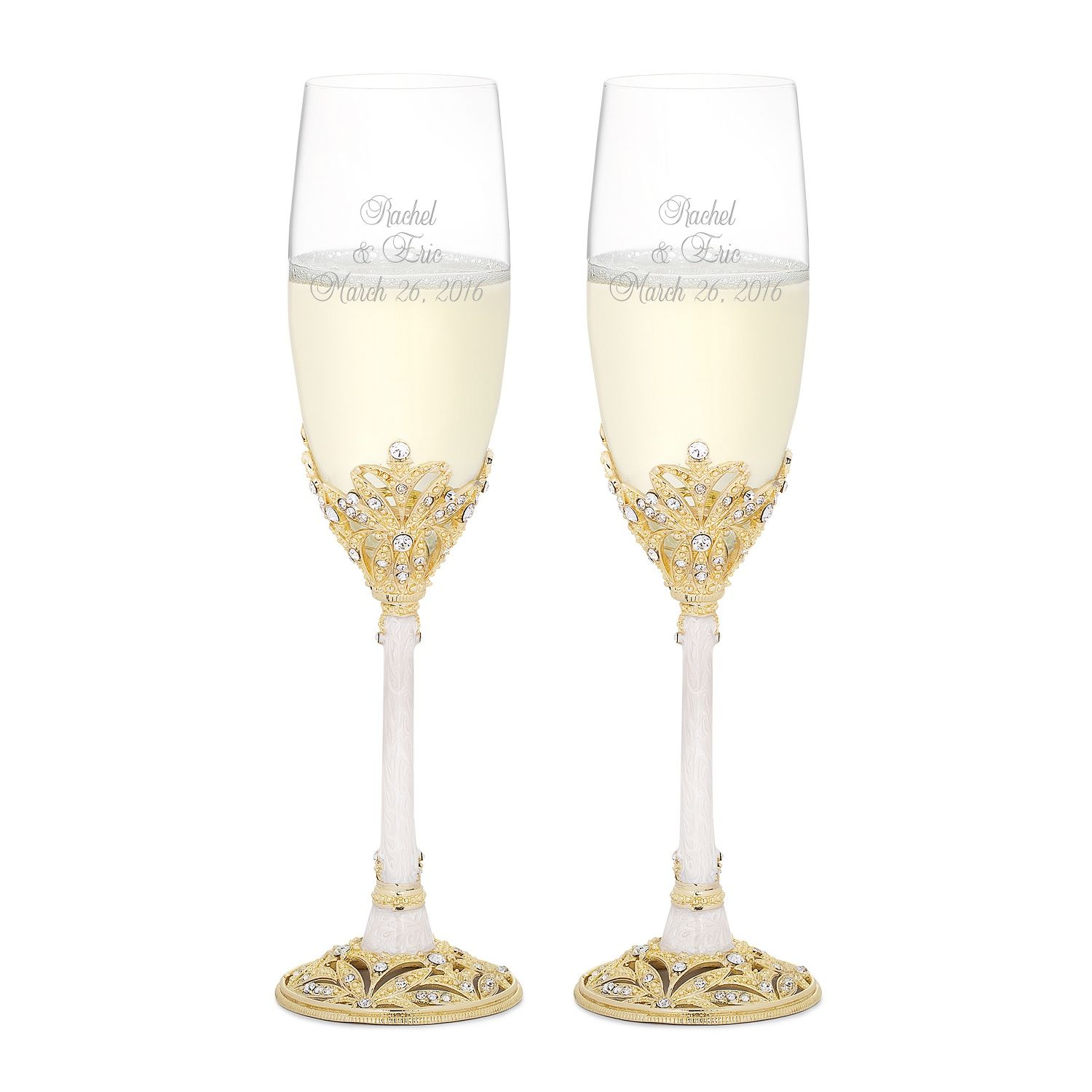 Gold And Pearl Enamel Crown Flute Set Wedding Flutes Gold Engraved Toasting Flutes Toasting Flutes