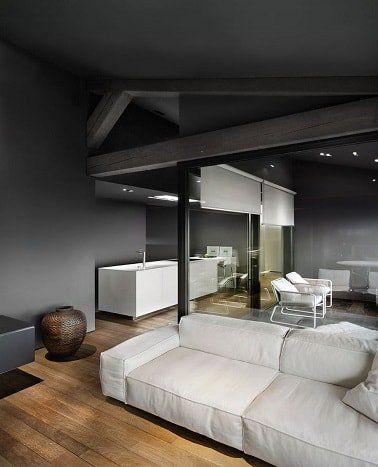 Gris anthracite mur plafond dans le salon et la cuisine en 2019 ...