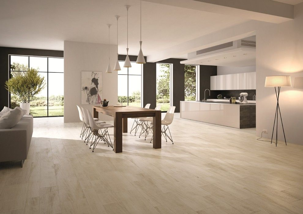 Wood Look Porcelain Dining Room Contemporary With White Oak Tile