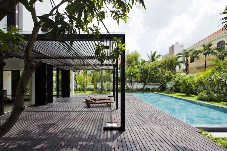Protection solaire 55 idées pour la terrasse extérieur Pergolas - photo terrasse carrelage gris