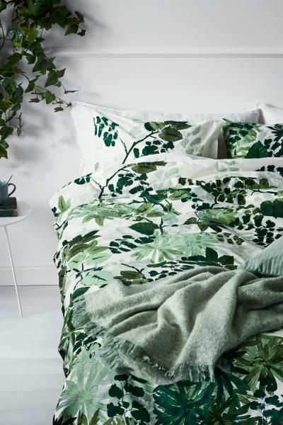 Double Duvet Cover Set With A Leaf Print On Fine Threaded Cotton In 30s Yarn Thread Count Of 144 The Fastens At Bottom Conceale