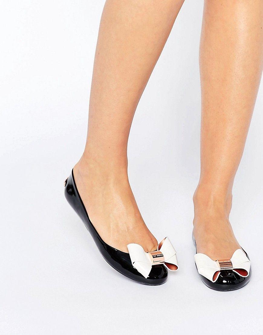 2210e259b Ted Baker Black Cream Faiyte Bow Jelly Shoes
