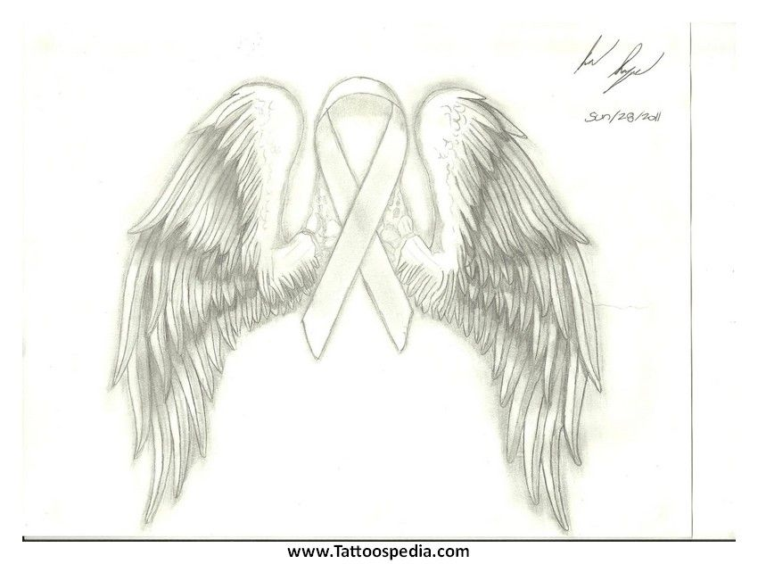 white tattoo of lung cancer ribbon   ... 20Angel%20Wings ...