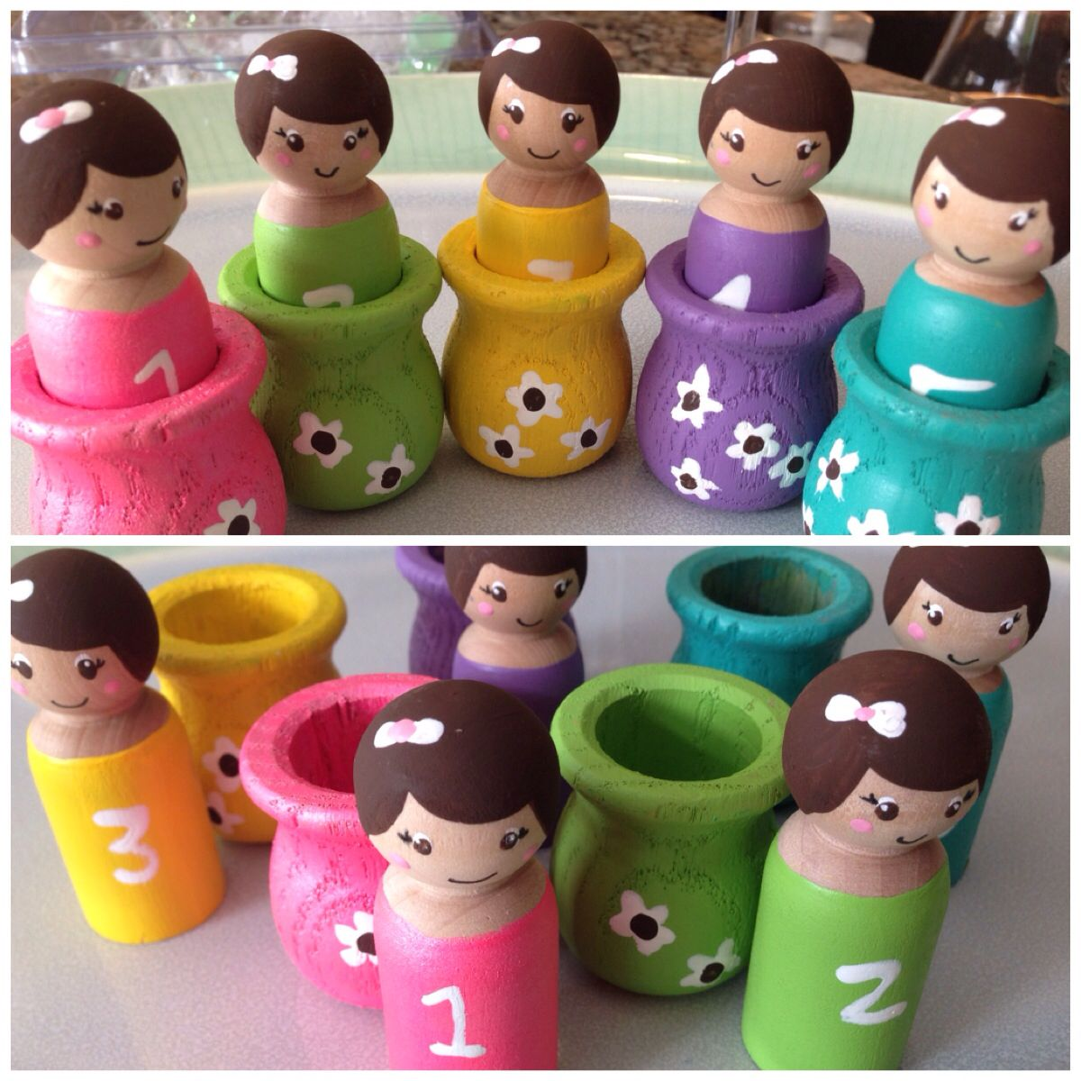 peg dolls for Dylan's first birthday