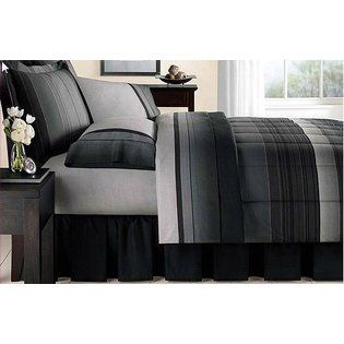 Kids Bedding Black & Gray Striped Boys Full Comforter Set (8 Piece Bed In A Bag) at Sears.com