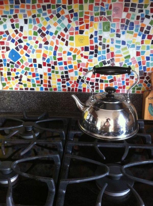 Fliesenfarbe Mosaik Fliesen Bunt Rückwand Küche
