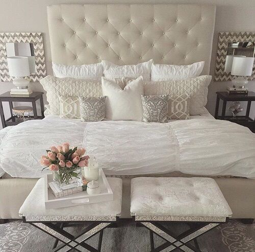Beautiful Neutral Bedding White And Cream Bedroom Light Open Master