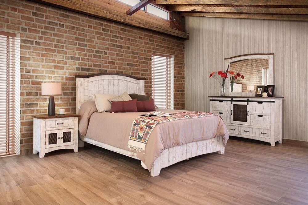 White Barn Door Eliza Queen Bedroom Set Solid Wood Quality Burlesonhomefurnishings Country