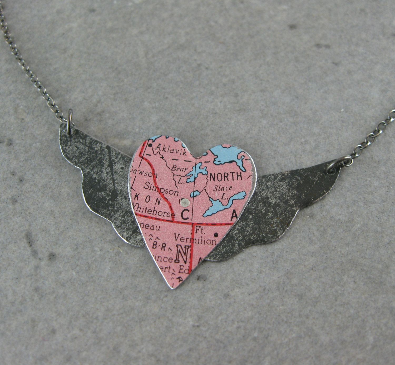 Winged Heart Recycled Tin and Vintage Map by shixie on Etsy