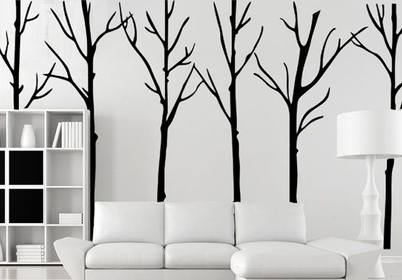 19a280a7b880 Winter tree decal-black tree wall sticker-large birch tree decal for living  room-vinal tree wall decal-removable tree sticker wall murals