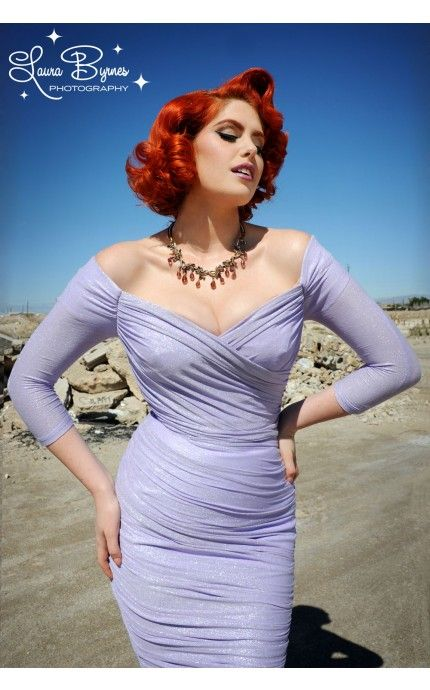 Monica Dress in Lavender and Silver Lurex Knit - Party Glamour - Collections   Pinup Girl Clothing #pinupgirlclothing