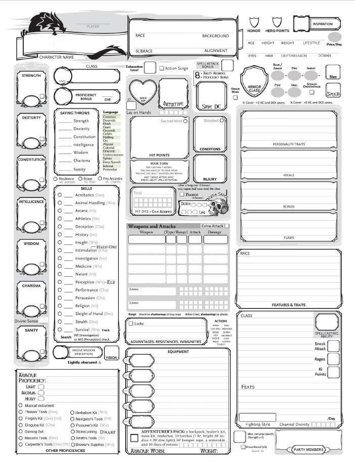 Slight Variant On The Normal Character Sheet Free Download Fully Loaded 5e Character Sheet Dung Dnd Character Sheet 5e Character Sheet Character Sheet