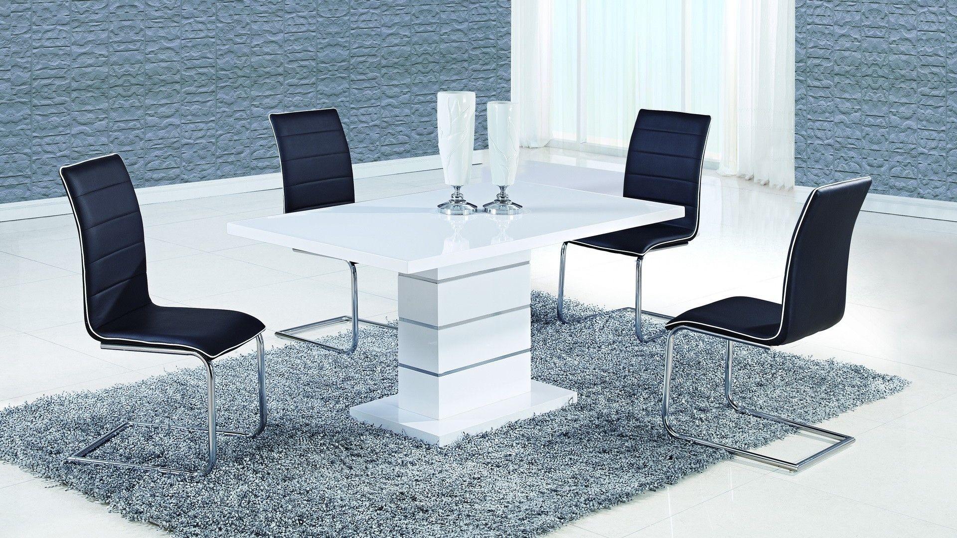 Global D470DT+490DC-BL Diningroom Set - White&black diningroom set ...
