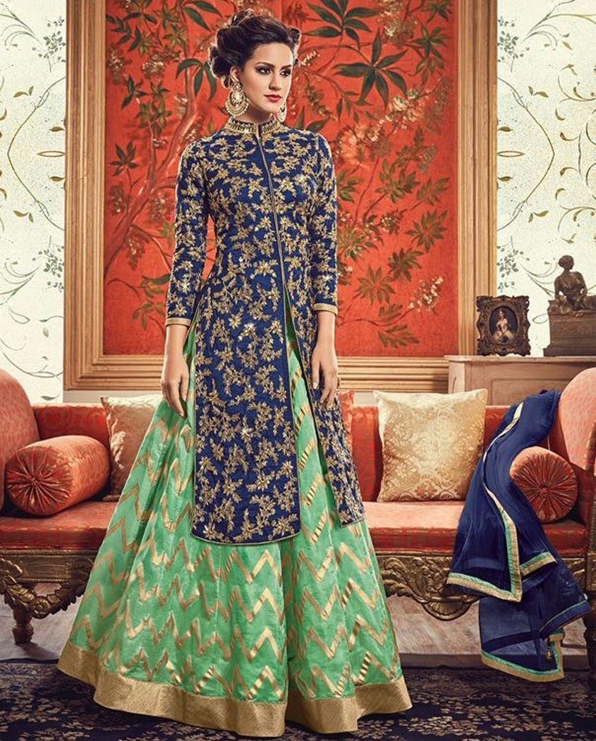 blue and green banarasi silk front slit anarkali suit heavy