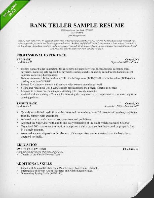 bank teller resume sample writing tips genius regarding banking - bank teller objective