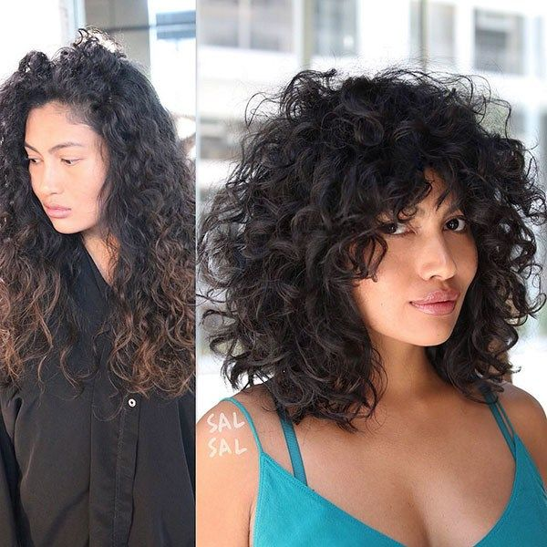 Curly Hair Lob With Bangs Best Short Curly Hair Ideas In 2019 Short Curly Hair Curly Hair Styles Naturally Curly Hair Styles