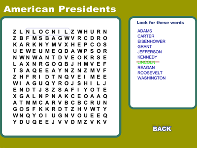 American Presidents - Word Search Game