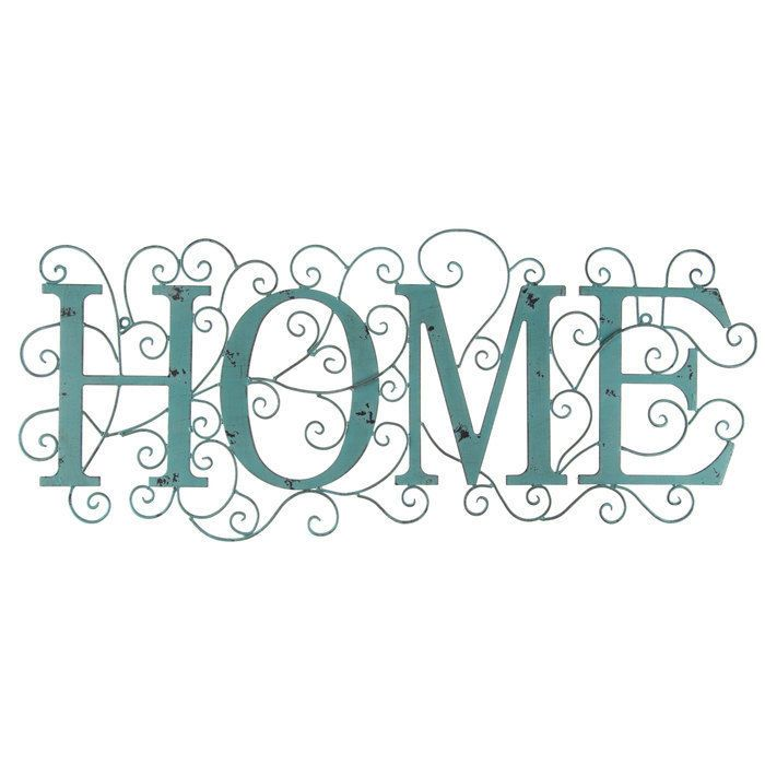 Distressed Turquoise Home Word Rustic Metal Wall Decor   Shabby Chic Decor!   #Country