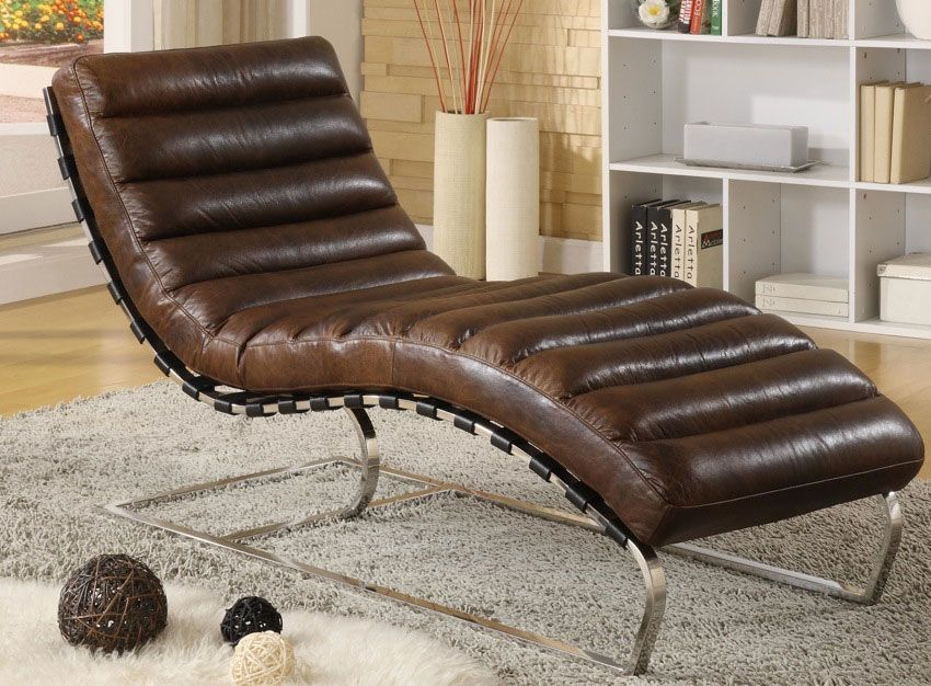 Leather Chaise Vintage Leather Chrome Accent Legs Restoration
