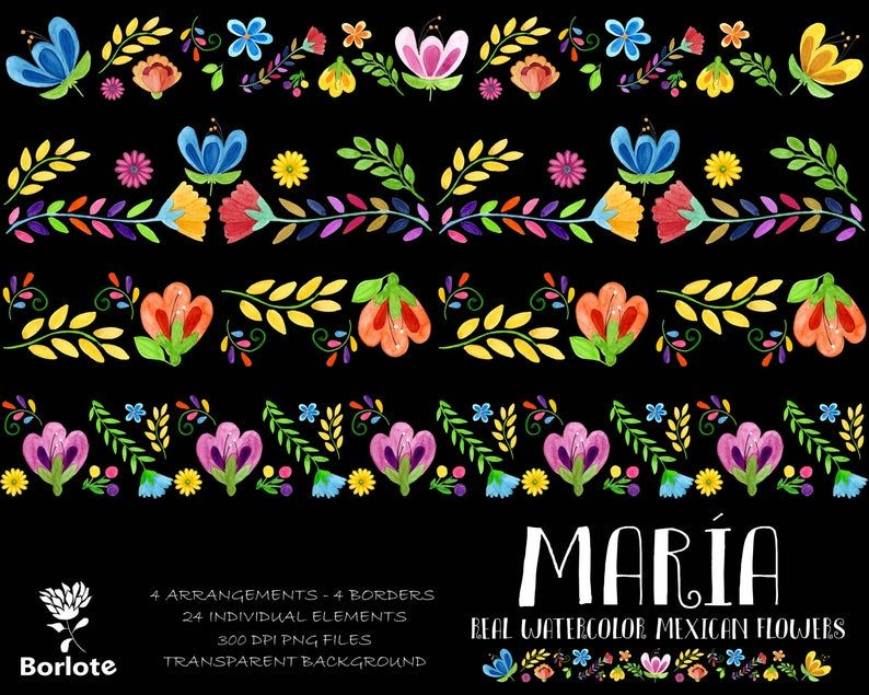 Mexican Watercolor Flower Clip Art Fiesta Mexicana Mexican Party Clipart Png Hand Painted Mexican Colorful Flower Clipart Mexican Flowers Watercolor Flowers