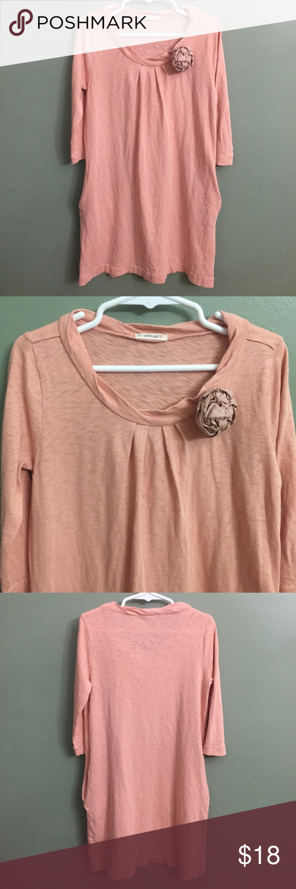 """🎈B2G1🎈EUC Crewcuts Pink Cotton Dress, 6/7 Crewcuts Pink Cotton Dress, has pockets and flower accent, 6/7. EUC despite small pen mark on left sleeve as picture.🎈This item is eligible for the """"Buy 2 Get 1 Free"""" promotion in my closet with a minimum purchase of $15. Free items are to be of equal or lesser in value than the other items. Crewcuts Dresses"""