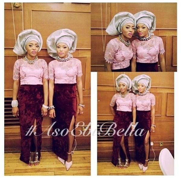 Velvet Lace Aso Ebi Twins Nigerian Naija Wedding Bellanaija