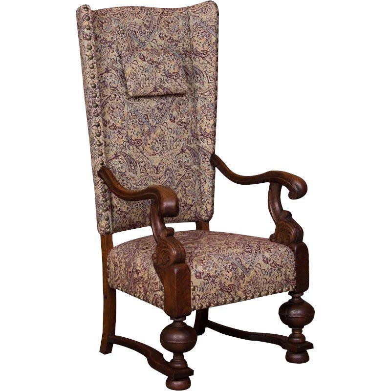 Antique Danish Baroque Oak Wing Back Chair Antique Scandinavian Furniture Wingback Chair Chair Leather Wingback Chair