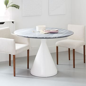 Silhouette Pedestal Dining Table Gray Marble Westelm With