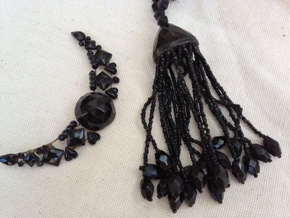 Victorian Black Jet Glass Tassel and moon shape by thejunkdiva, $24.50