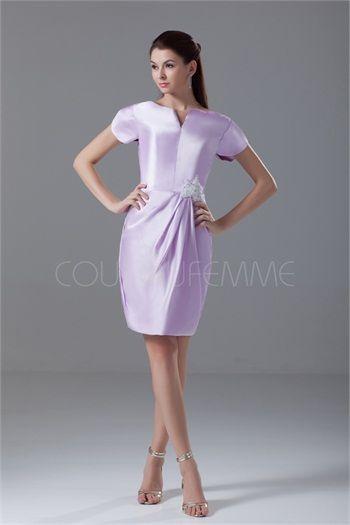 Robe de cocktail pas cher élégante avec manches courtes dos rond en satin 2015
