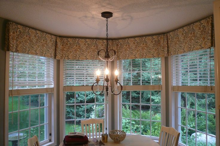 Valances for kitchen windows bay window valance for Bay window treatments ideas kitchen