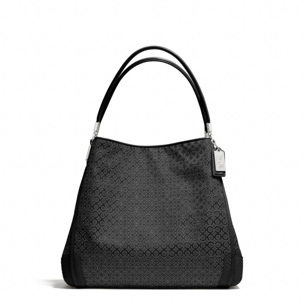 65733c1a48 The Madison Small Phoebe Shoulder Bag In Op Art Pearlescent Fabric from  Coach