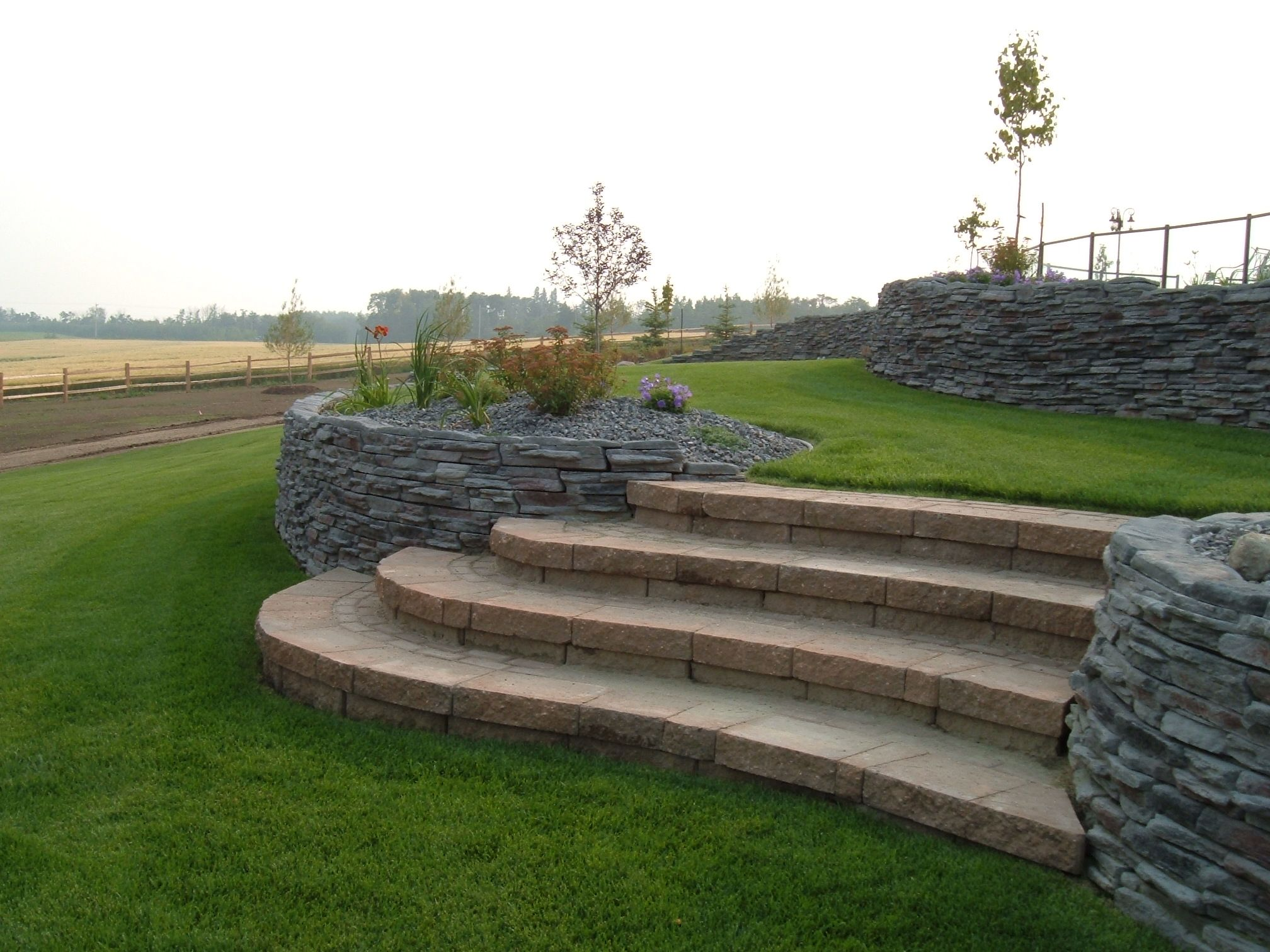 Creative Landscape - Stone Stairs and Rock Wall
