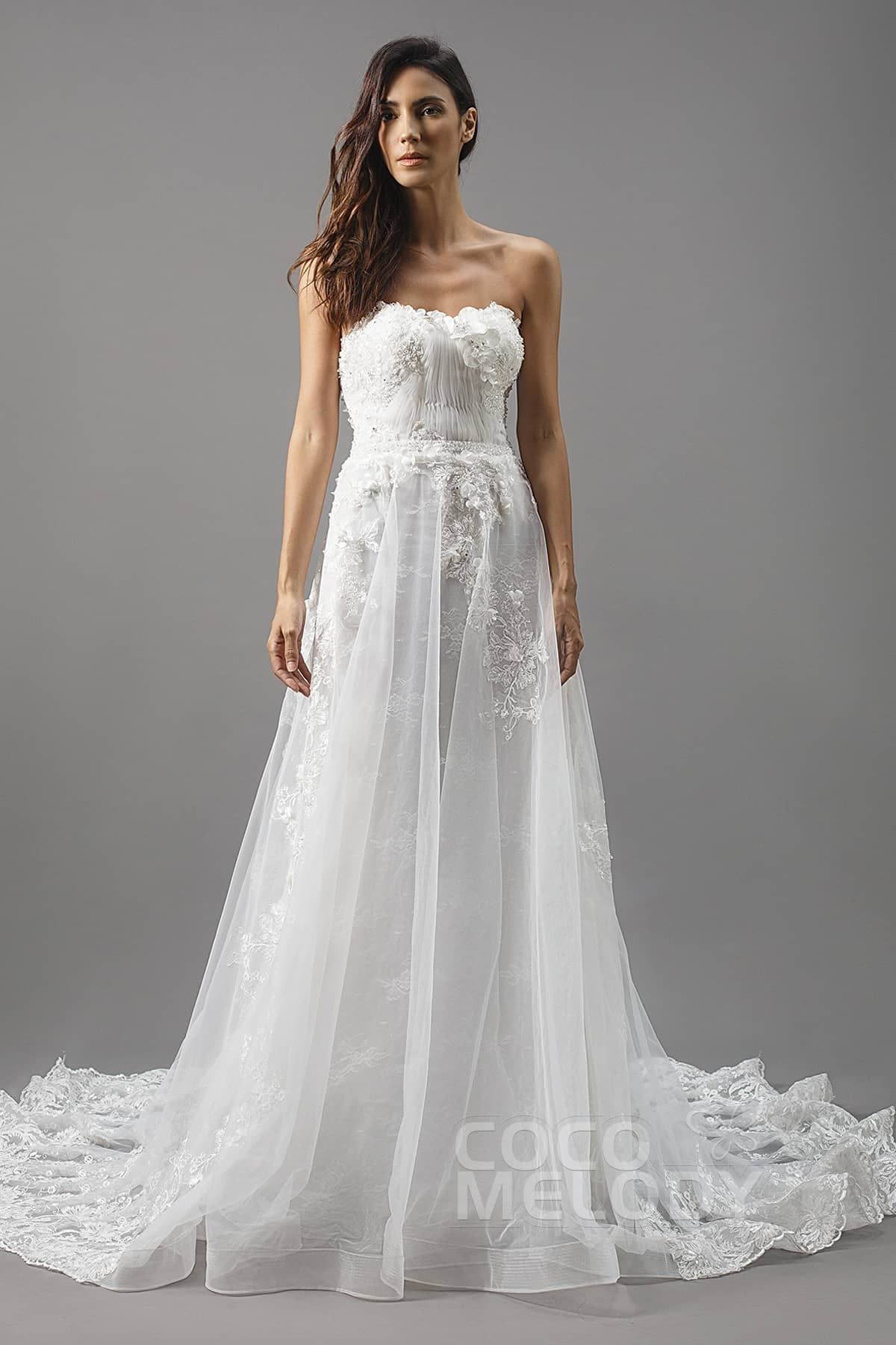 ALine Chapel Train Tulle Lace and Organza Satin Wedding Dress